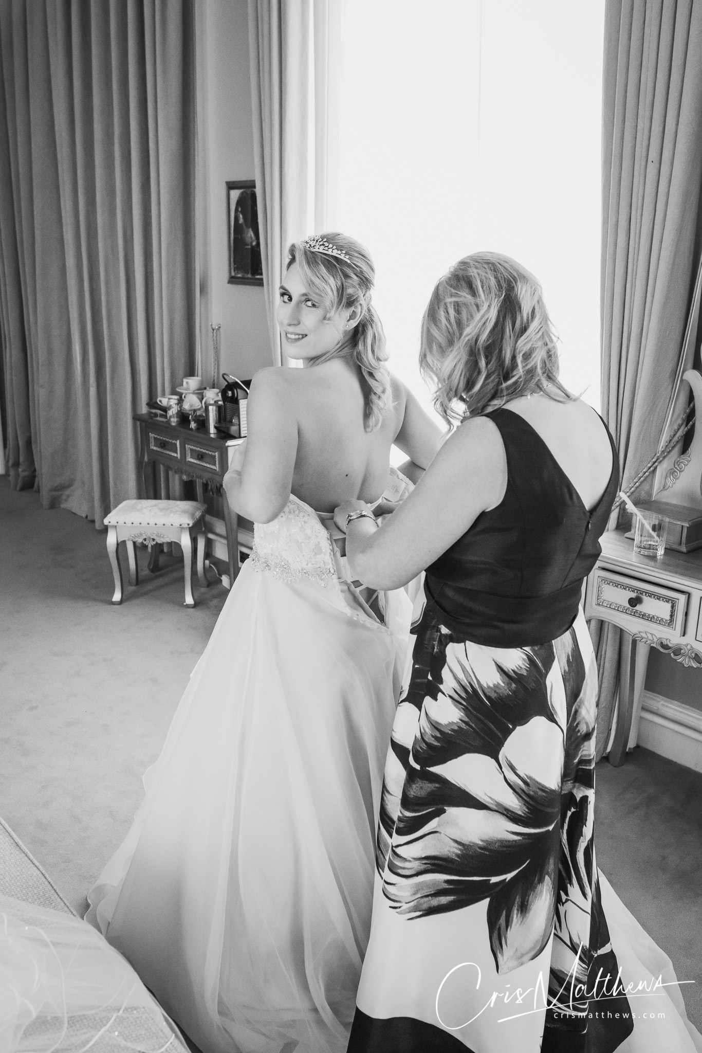 Getting Ready at Hawkstone Hall Wedding Shropshire