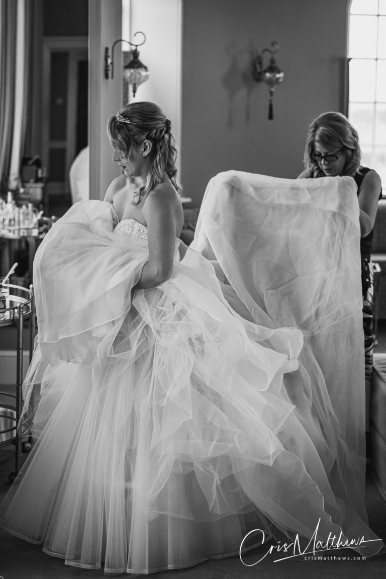 Getting the Dress On at Hawkstone Hall Wedding Photography