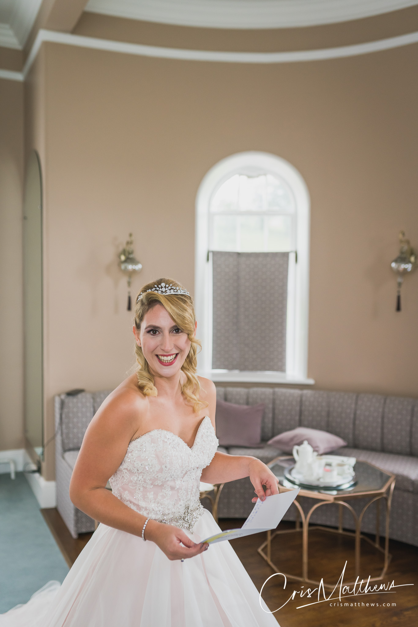 Bride Surprised at Hawkstone Hall Wedding Photography