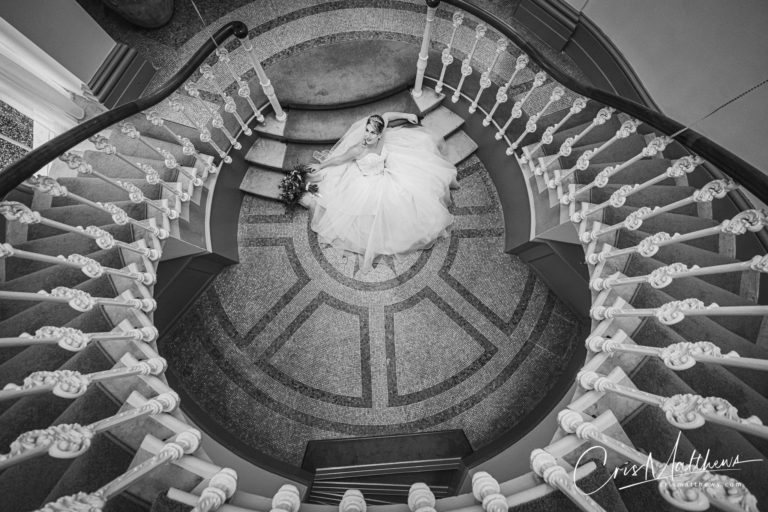 Staircase at Hawkstone Hall Wedding Photography