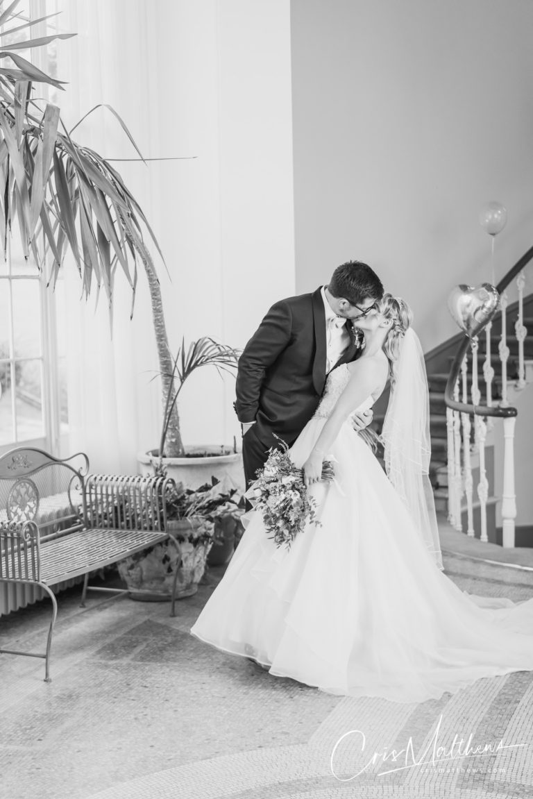 First Kiss at Hawkstone Hall Wedding Photography