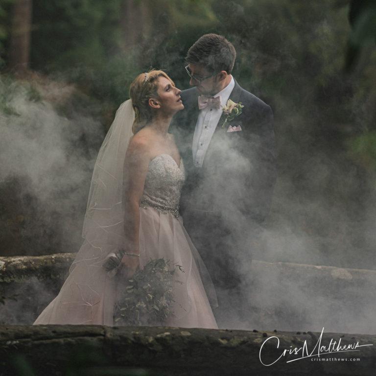 Smokebomb at Hawkstone Hall Wedding Photography