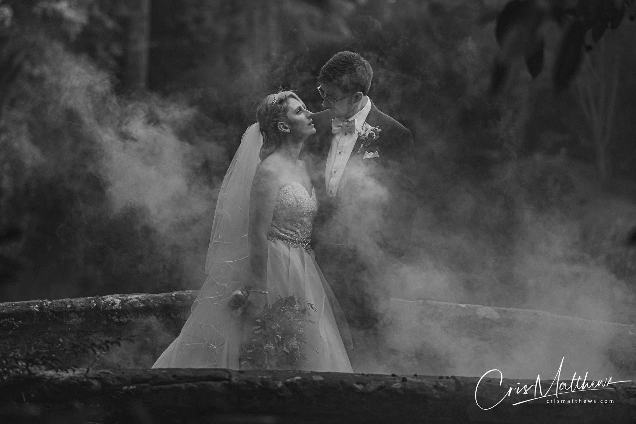 Smoke Bomb at Hawkstone Hall Wedding Photography