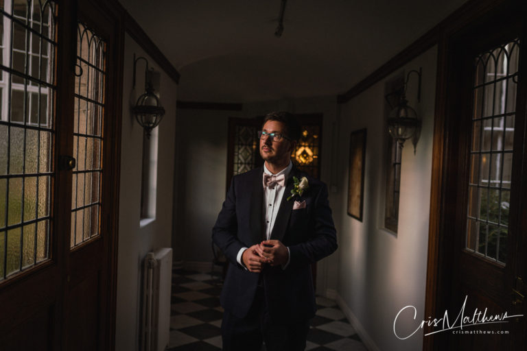 Groom Posing at Hawkstone Hall Wedding Photography